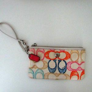 Vintage Coach Cream Scribble Wristlet